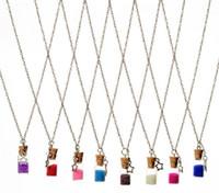 bestellen flaschenkristall großhandel-Freies Verschiffen kreative getrocknete Blumen-Exemplar-Glashalsketten-treibende Flasche WFN289 (mit Kette) mischen Auftrag 20 Stücke viel