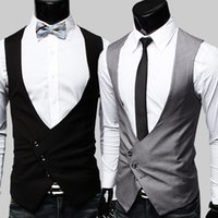 Wholesale purple vest costume - Wholesale- Mens Formal Vest High Quality 2015 Black Grey Dress Vests For Men Gilet Costume Homme Classic Party Dress Formal Mens Vest