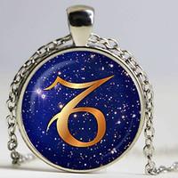 ingrosso pendenti di capricorno-Ciondolo Zodiaco in vetro blu Capricorno, ciondolo collana Capricorno, gioielli Capricorno, regalo di compleanno, placcato nastro, regalo di natale