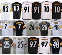 Wholesale New Bell - Wholesale #10 Martavis Bryant Jersey Stitched #91 Stephon Tuitt Black White #83 Cobi Hamilton Jersey Cheap New Heyward Dupree Bell Burns