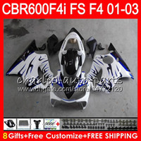 Wholesale Honda F4i Blue Flame Fairings - 8Gifts 23Colors For HONDA CBR 600F4i 01-03 CBR600FS FS 28NO89 blue flames CBR600 F4i CBR 600 F4i CBR600F4i 01 02 03 2001 2002 2003 Fairing