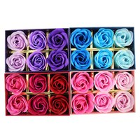 Wholesale Beautiful Soap Flower - 6Pcs Box Romantic Rose Soap Flower Rose flower soap Christmas gift box rose shape lovely and beautiful styles romantical and practical