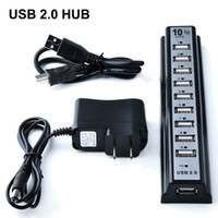 Wholesale Hub Usb Extension - New 10 Ports USB 2.0 HUB 480Mbps Hi-Speed Extension Adapter Cable For Keyborard PC Laptop with Retail Package DHL Free OTH340