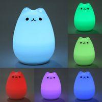 Wholesale Baby Soft Sounds - Premium 7 Colors Cat LED USB Children Animal Night Light Silicone Soft Cartoon Baby Nursery Lamp Breathing LED Night Light