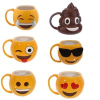 Wholesale Lovely Smiling Face Emoji Mug Porcelain Poop Shit Cup Cartoon Amused And Sad Cool Couple Mugs Coffee Cups IC520