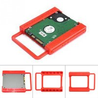 Wholesale Disk Docking - Wholesale- 2.5 to 3.5 Inch SSD HDD Hard Disk Mounting Adapter Bracket Dock Holder Plastics Red For Notebook PC SSD Holder