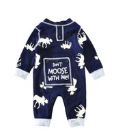 Wholesale Quality Kids Clothing Wholesale - Newborn rompers with long sleeve deer don't moose with me baby's cotton one-piece suits toddler infant jumpsuits kids clothing top quality