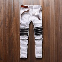 Wholesale Hip High Slit - Wholesale- 2016 high quality Fashion knee multi-zipper slit elasticity relaxation casual fashion Men's jeans CHOLYL Brand Hip hop street
