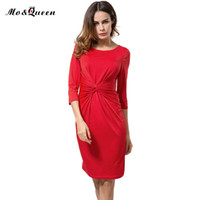 Wholesale Wholesale Half Pencils - Wholesale- Casual Kink Dresses Women 2016 New Fashion Solid Women Autumn Dress Half Sleeve Pencil Sheath Bodycon Ladies Dresses Brown Blue