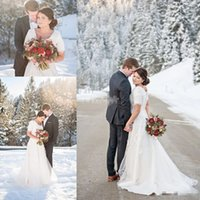 Wholesale Snow White Shirts - 2017 Snow Winter Plus Size Wedding Dresses Short Sleeve Scoop Lace A-Line White Satin Chapel Train Covered Button Custom Made Wedding Gowns