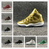 Wholesale Elastic Sneakers - 2017 Hot Air Retro 11 Space Jam Kids Sport Basketball Shoes 11 Colors GS Heiress Suede Maroon Retro 11s Sneakers Blue Moon Sunset Size 28-35