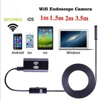 Wholesale wifi snake camera - Wholesale- 1 1.5 2 3.5m 8mm WIFI Endoscope Waterproof Borescope 1.0MP Camera Lens Borescope Inspection Snake Tube Camera For ios Android