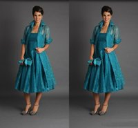 Wholesale Tulle Dress Suit Women - Plus Size Organza Mother Of Groom Bride Suits For Wedding Strapless Short Sleeves Tea Length Ruffles 2017 Women Formal Evening Gowns Newest