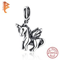 Wholesale 925 Sterling Horse Pendant - BELAWANG European Free Spirit Horse Pendant 925 Sterling Silver Charms Bead Fit Pandora Bracelet Necklace For Women DIY Jewelry Making