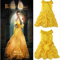 Wholesale Yellow Fairy Costume - Beauty and the Beast Inspired Costume Dress Cosplay Yellow bow princess gown dress Boat neck Stage performance dresses 2017