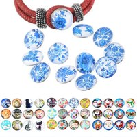 5Style Trend 12pcs / Set Fixed Mixed Cat Butterfly Blue Padrão Padrão Snap Button 18mm Snap DIY Pulseira DIY Branco Round Round Button N193S
