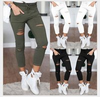 Wholesale Korean Fashion Xxl - New Korean Fashion Skinny Ripped Pants Women High Waist Knee Hole Nine Points Leggings Ripped Pants Trousers Plus Size 4XL