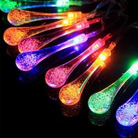 Wholesale Solar Water Toy - Solar Powered Water Drop shape LED String 20 LEDS 4.8 Metre Garden Christmas Lights string Outdoor Christmas Led light