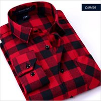 Wholesale Black Red Flannel Shirts - Wholesale- Spring 2017 Men's Casual Plaid Shirts Long Sleeve Slim Fit Comfort Soft Brushed Flannel Cotton Shirt Leisure Styles Man Clothes