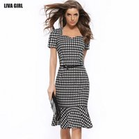 Wholesale Package Hip Skirt - 6 color package hip 2017 new style grid cultivate one's morality dress Fishtail gown dress work leisure pencil skirt size S - 3 xl
