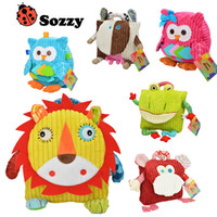 Wholesale Baby Book Bags - 25cm Height Children SOZZY Fox Owl School Bags Lovely Cartoon Animal Backpacks Baby plush Shoulder bag Schoolbag Toddler snacks book bags