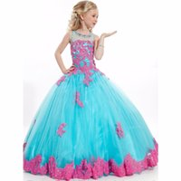 Wholesale Tulle Gowns For Sale - Hot Sale Custom Cheap Pageant Dress for little girls Lace Beaded Corset Glitz Tulle Flower Girl Dresses First Communion Gown