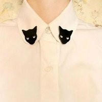 Wholesale Blouse Shirts Collar Neck Tip - Wholesale- Free shipping Min.order $15 (mix order) Black Cat Woman Girl Blouse Shirt Collar Neck Tips Brooch Pin Costume Punk
