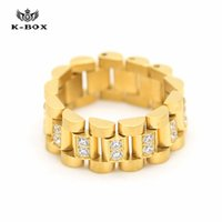 Wholesale Diamond Cut Ring Men - Luxury Stainless Steel 24K Gold Plated Ice Out Diamond Cut Ring Mens Watchband President Style Band Ring Men Bling Rhinestone Cz Watchband