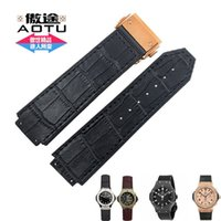 Wholesale Tool For Bangs - Wholesale- AUTO HUBBANDS 25x19mm Watch Bands for Big Bang Sport Straps Rubber Stick Genuine Leather Deployment Clasp for HUB + Free Tools