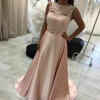 Wholesale petite bridesmaid dresses elegant for sale - Custom Made Elegant Blush Pink Satin A line Evening Dresses Lace Appliques with Belt Women s Bridesmaid Party Dress Sheer Neck Cheap