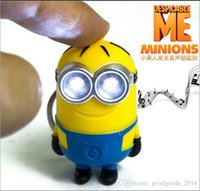 Wholesale Despicable Talking - Despicable Me Talk minions vocalization LED keychain Creative Trinket Gift For Christmas flashlight keyring Wholesale Free shipping DHL