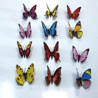 Wholesale Holiday Decals - 100Pcs  Lot Simulation Butterfly 9Cm Pvc Home Decoration Buterfly Wall Stickers Home Decal Magnet Crafts Holiday Decoration