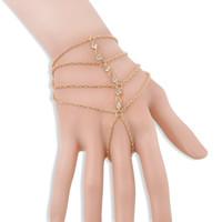 ingrosso bracciali slave-2017 Fashion Celebrity Nappa Bangle Multi-strato di cristallo Drill Bracciali per le donne Gioielli Slave Finger mano catena Harness Gold