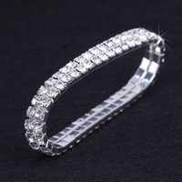 Wholesale Girls Jewelry Set Wholesale - 12 pieces Lot Wedding Bridal Jewelry Elastic Crystal Rhinestone Stretch Silver Gold Bangle Bracelet Wholesale Wedding Accessories for Women