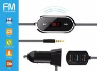 cargadores inalámbricos ipad al por mayor-FM11 Kit de coche de radio inalámbrico para transmisor de FM universal con conector de audio de 3.5mm 2.4A Adaptador de cargador de coche USB doble para iPhone iPad Samsung Sony