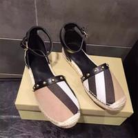 Wholesale Canvas Shoes Ballet Flats - Letu145 Fashion Striped Buckle-strap Two-piece Jute Canvas Espadrilles Flats Ballet Flats Shoes Women Genuine Leather Shoes Sz 35-39