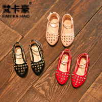 New Fashion rivet Children Dress Shoes Pu couro Girls Shoes coreano barato Wedge Kids Dress Shoes Crianças Calçado desgaste Girl wear A945