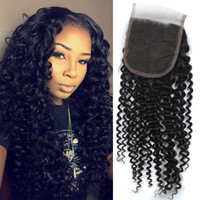 Wholesale kinky hair extensions products - Kinky Curly Top Lace Closure Peruvian Virgin Hair Natural Color Human Hair Extensions 1 Piece Closure Free Shipping Longjia Hair Products