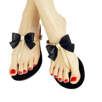 Grossiste-2016 Bow Thong Jelly Chaussures Femme Jelly Flip Flops Femmes Sandales Chaussons Femmes Zapatos Chaussures Femmes Sapatos Femmes new