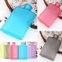 Wholesale Wholesale Food Flasks - Newest Frosted Wine Cup 400ML Creative Portable Hip Flasks Bottle Food grade AS Plastic Outdoor Travel Mugs 6 Color Free Shipping WX-C37