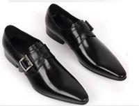 Wholesale Comfortable Mens Black Dress Shoes - Large size EUR45 Comfortable brown tan   black business shoes mens dress shoes genuine leather mens formal wedding shoes