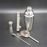 ingrosso vino del bar del kit-Set di shaker per vino in acciaio inox Set di miscelatori per jigger in argento Setaccio per cucchiaio shaker Kit robusto per utensili da bar Top quality 27mc4 B