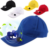 Wholesale Solar Powered Fan Hat Wholesale - Solar Power Hat Cap Cooling Fan For Golf Baseball Sport Summer Outdoor Solar Sun Cap With Cooling Fan Snapbacks Baseball Cap OOA1261