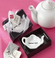 "Wholesale Small Spice Jars Wholesale - Creative Small Dish Salt & Pepper Shaker "" swee.tea"" Jar Ceramic Tableware Cruet Wedding Favors Gift Free Shipping"