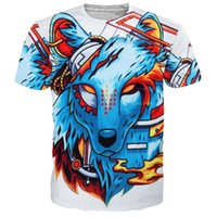 Wholesale Dog 3d T Shirt - 3D digital printing T-Shirt Blue painted dog Mens Leisure shirt