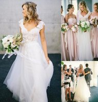 Wholesale Simple Sexy Dresses For Sale - Bohemian Hippie Style Wedding Dresses for UK Free Shipping Sale 2017 Design with Long Skirts 2016 Cheap Boho Chic Beach Country Bridal Gowns