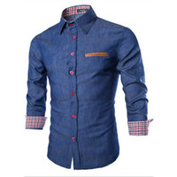 ince sığan kovboy gömlekleri toptan satış-Toptan Satış - Erkek Denim gömlek Kovboy Gömlek Casual Uzun Kollu Slim Fit Gömlek Sonbahar Moda Erkek Denims Jeans Gömlek Boyut S-XXL Tops
