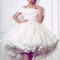 Wholesale Engagement Short Dress - Lovely White High-Low Wedding Dress Sexy Off Shoulder 3D Floral Appliques Short Bridal Dress 2017 Charming Engagement Dress For Pretty Girls