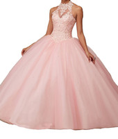 ingrosso vestito da promenade del rhinestone del sequin del organza-Custom New Ball Gown Halter Sleeveless Backless Long Dress Prom Dresses Tulle Lace Tulle Abiti Quinceanera Red Pink Teal
