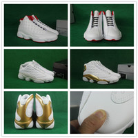 Wholesale Pure Leather Shoes For Men - 2017 Super AAA+ quality Mens Retro 13 Basketball Shoes History of Flights DMP Pure Money for Airs 13s Gold Sports Sneakers 8-13 With Box